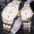 Pareja Marca de relojes de Lujo Reloj de Los Hombres Fecha Impermeable de Acero Inoxidable Relojes de Las Mujeres de Negocios de Moda Reloj de Cuarzo Reloj de pulsera de regalo