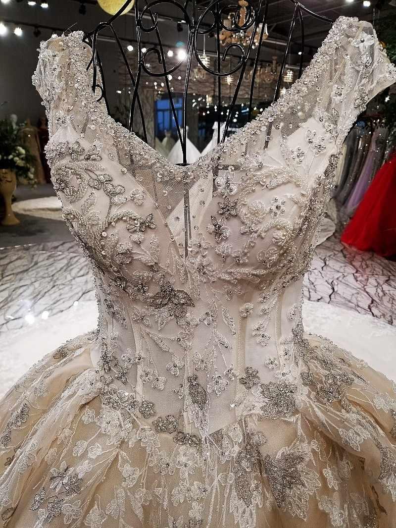 LS54911 платье свадьба2018 Роскошное свадебное платье с длинным поездом в форме кружева с кружевами из слоновой кости и шампанского с длинным поездом