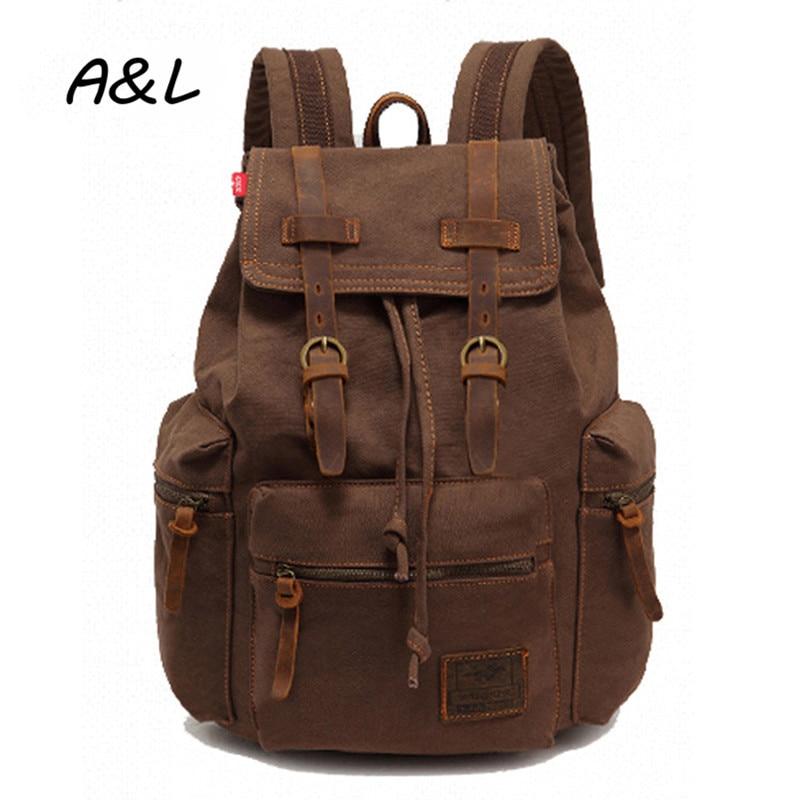 Lelaki Backpack Vintage Fesyen Canvas Backpack Unisex Leisure Travel - Beg galas