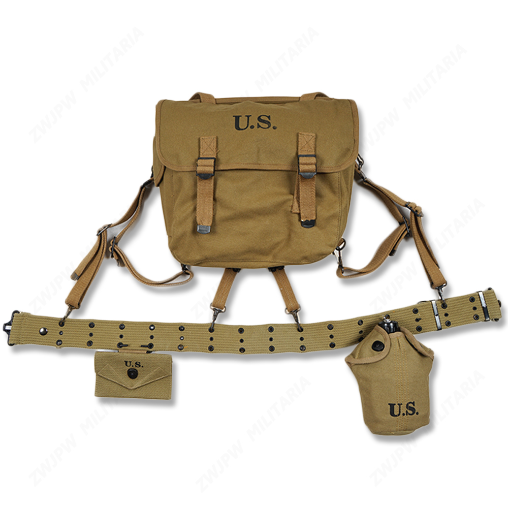 WW2 US ARMY EQUIPMENT M36 BAG BELT FIRST AID KIT AND 0.8L KETTLE X TYPE STRAPS
