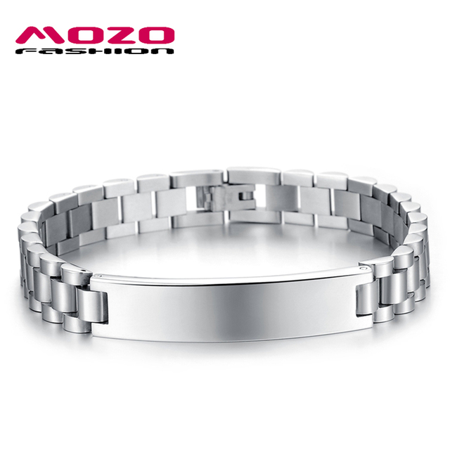Mozo Fashion 2017 Brand Man Jewelry Accessories Simple Stainless Steel Charm Link Chain Bracelets Cool Men