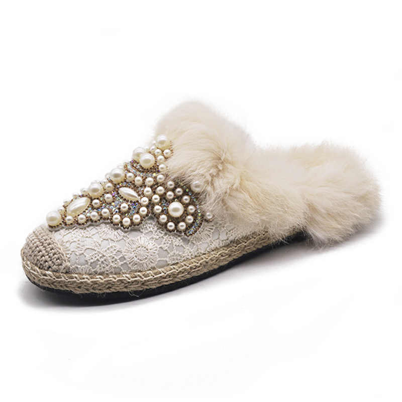 eb7986c94 ... Brand 2019 New Spring Luxury Slippers Pearl Fur Mules Shoes Woman High  Quality Fashion Winter Flats ...