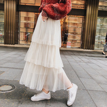 Spring autumn high waist long skirts streetwear fashion Tulle Mesh plus size skirt lolita summer 2019 womens tulle