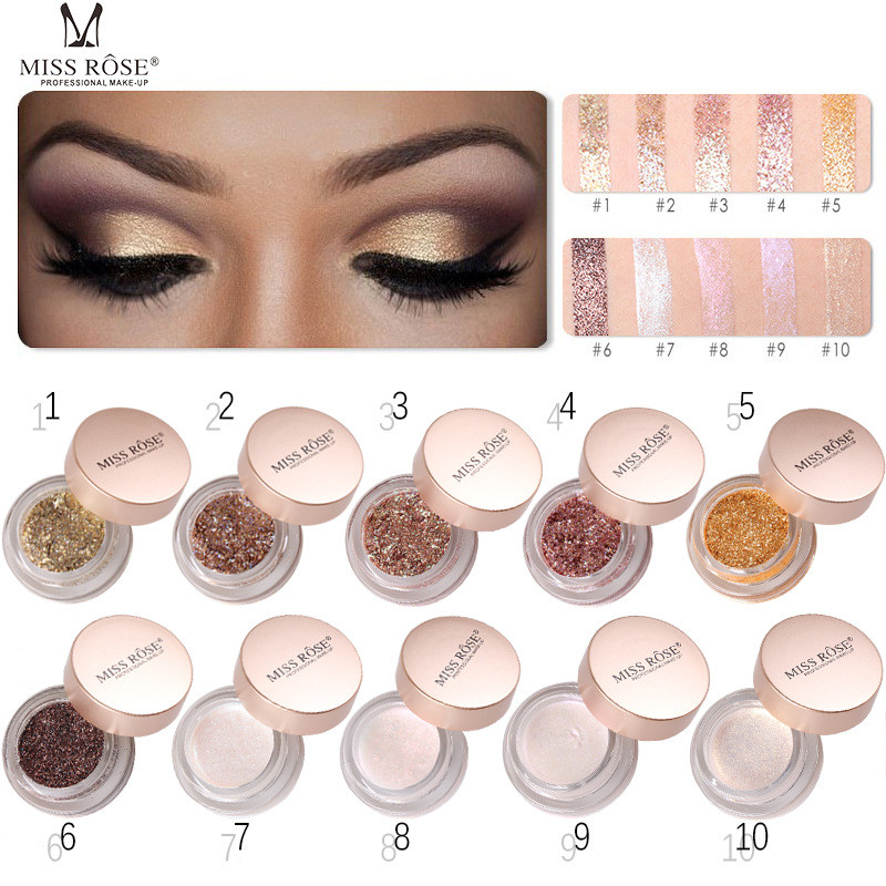US $1.19 42% OFF|Miss Rose 10 Styles Glitter Eyeshadow Powder Mermaid Eyeshadow Loose Pigment Glitter Powder Monochrome Eye Shadow Makeup TSLM2-in Eye Shadow from Beauty & Health on AliExpress