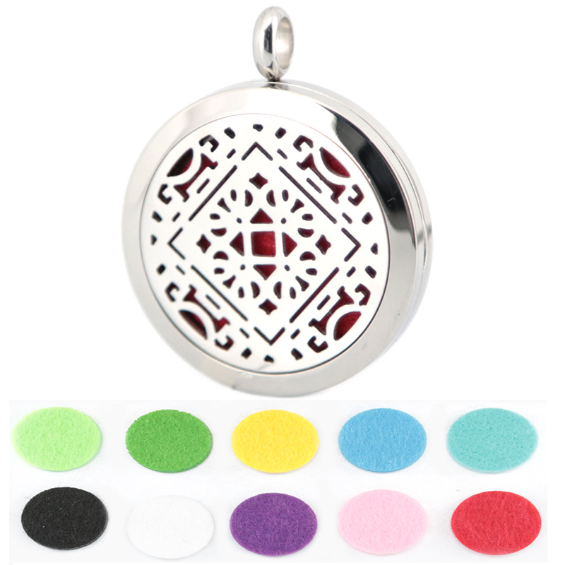 10pcs Round Silver Geometry 30mm Aromatherapy Oils Stainless Steel Perfume Diffuser Locket Necklace With Free chain and Pads