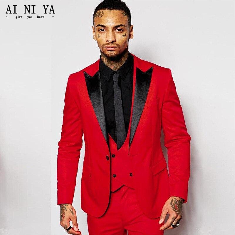 (Vestes + Gilet + Pantalon) 2018 Nouveau Hommes Costumes Slim Custom Fit Marié Smokings Mode Marié Commerciaux Robe de mariage Rouge Costumes Blazer