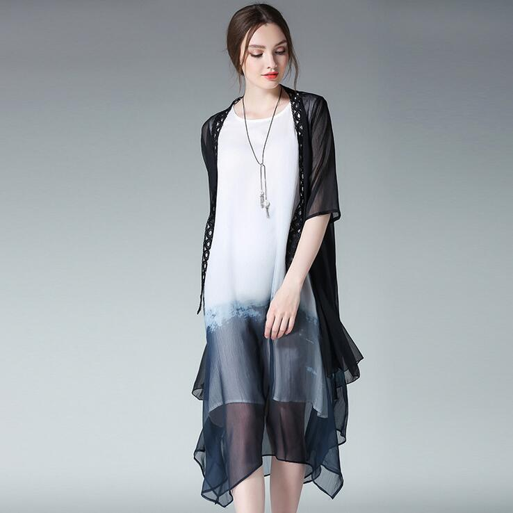 chiffon cardigan Picture - More Detailed Picture about Black White ...