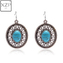 XZP Ethnic Bohemian Women Teardrop Black Vein Turquoises Earring Antique Silver Color Chandelier Filigree Stone Dangle Earrings(China)