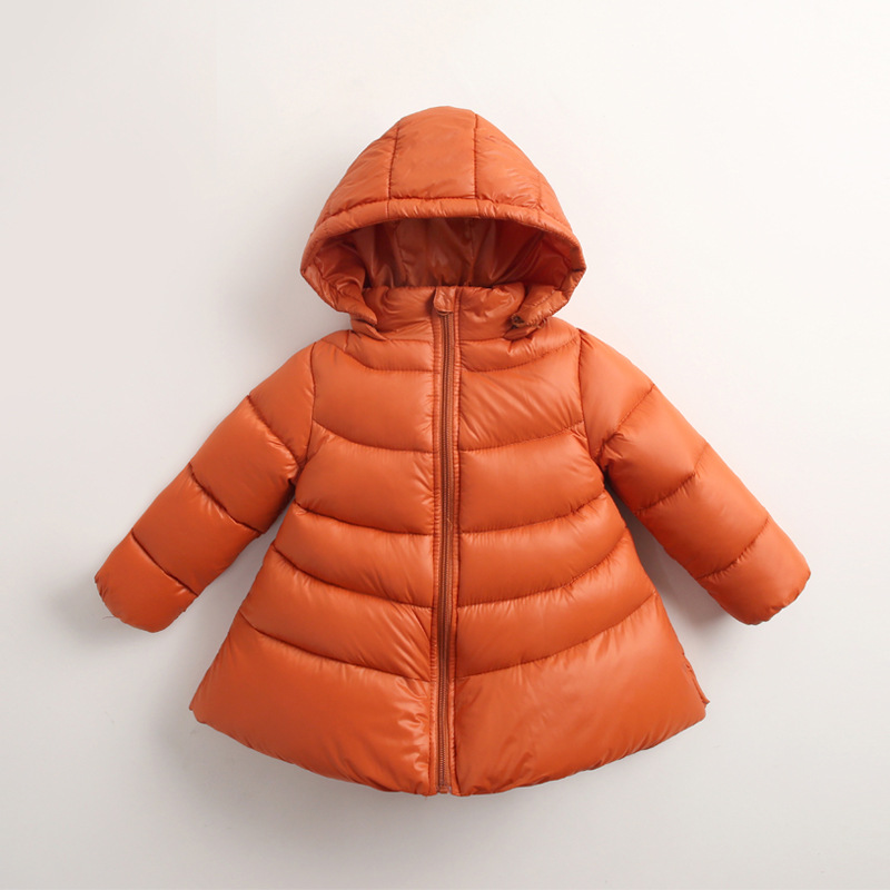 Girls Winter Jacket New Hooded Kids Girls Loose Hem Coat Long Sleeve WindProof Children Down Coat Outwear Warm 1-8Years CA445 loose knit scalloped hem dolman jumper