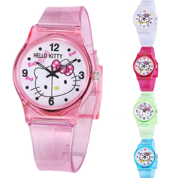 Mouse Sports Kids Watches Hello Kitty Children Cartoon Wristwatch Silicone 50M W