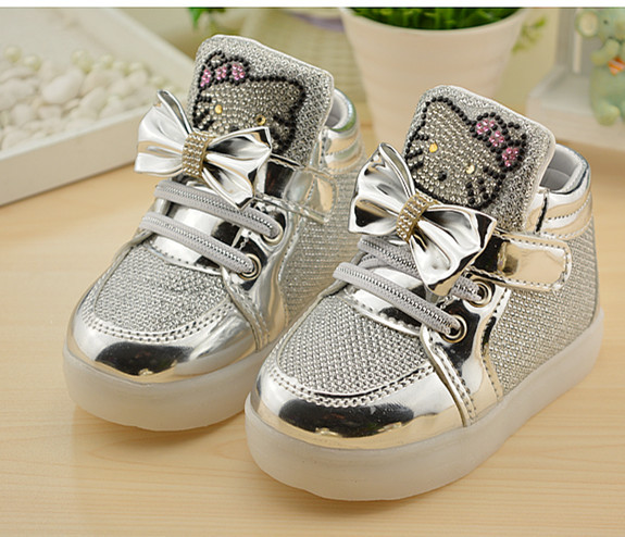 Hello-Kitty-Rhinestone-Led-Light-Shoes-Children-Baby-Girls-fashion-PU-shoes-Slip-on-casual-shoes-for-Christmas-2