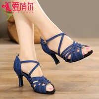 Woman Ballroom Latin Dance Shoes High-heeled 5/6/7.5/8cm Blue Silver Salsa Social Party Shoes Female Tango Dance Shoes VA30