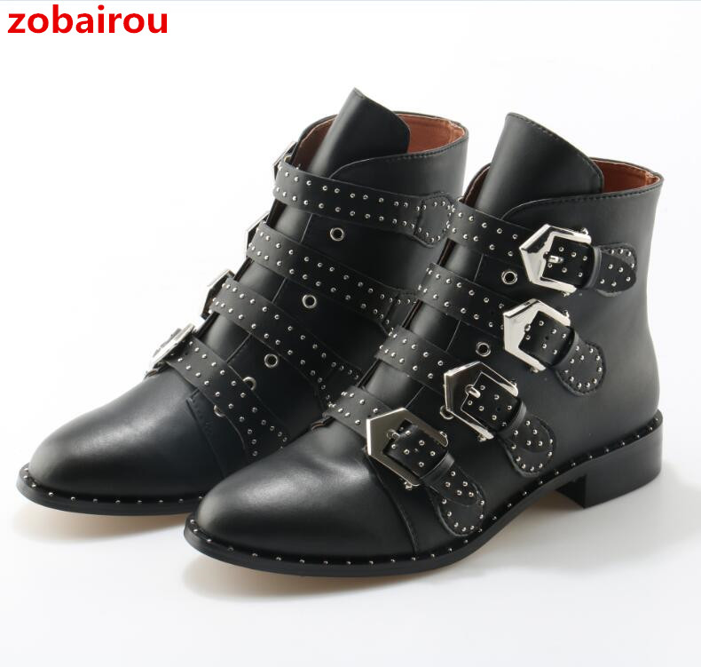 Zobairou Brand Leather Motorcycle Boots Rivets Studded Biker Shoes Women Suede Pointed Toe Shoe Famous Designer Woman Flats Punk taoffen genuine leather motorcycle boots biker shoes women suede pointed snow boots brand shoe famous designer woman flats punk
