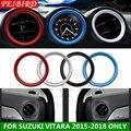 Для Suzuki Vitara Escudo 2015 - 2019 ABS Авто Стайлинг Кондиционер Выход переменного тока кольцо крышка обшивки красный синий Углеволокно