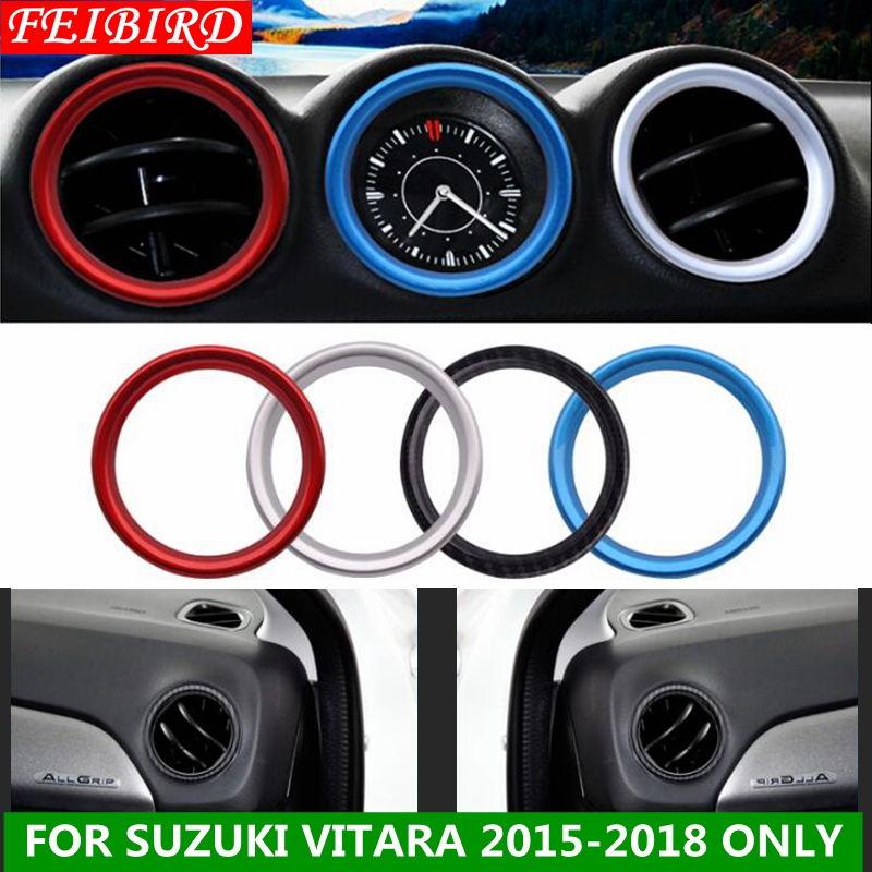 For Suzuki Vitara Escudo 2015 - 2019 ABS Car Styling Air Conditioning AC Outlet Vent Ring Cover Trim Red Blue Carbon Fiber image