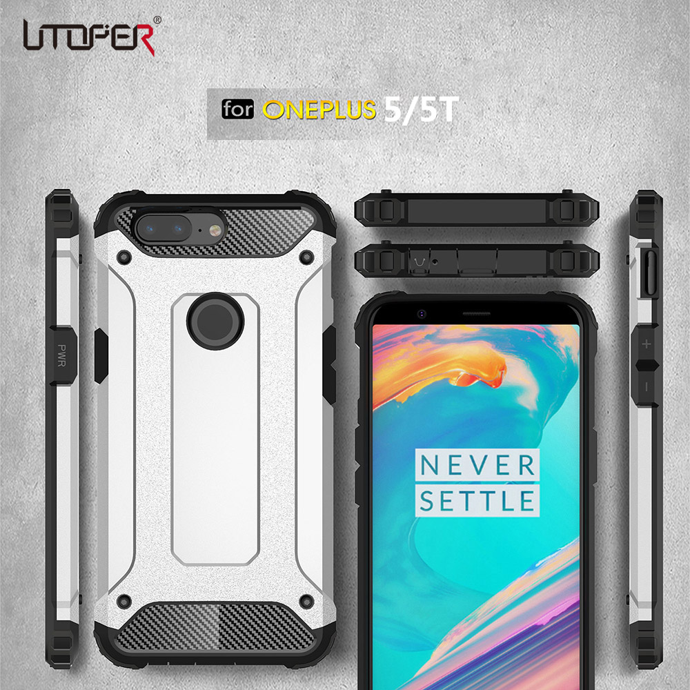 UTOPER Case For Oneplus 5t 5 Case Luxury Armor Back Cover Oneplus5t Case For One plus 5t Cover soft TPU PC For Oneplus 5 T Coque