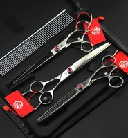 Purple Dragon Professional 9 CR Pet Dog Grooming Scissors 7.5 inch Hair Cutting + Thinning +Curved Shears Cat Scharen With Case