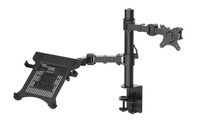 "Image 2 - Loctek D1F2 Full Motion Desktop 10"" 16"" Laptop Mount+10"" 27"" Monitor Holder Mount LCD Dual Arm Desk Stand Max Support 10kg Each"
