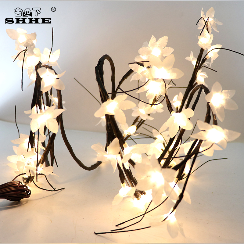 1.8m 60leds Primrose Twig Garland String Lights Willow Vine Branches Brown Wrapped Crafts With Timer Led Fairy Holiday Lighting