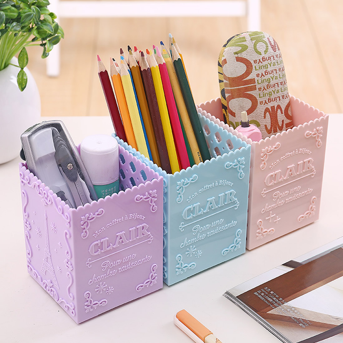 Cute Home Office Storage Boxes Pen Stationery Small Sundries Storage Holder Hanger Girl Bedroom Desktop Storage Boxes Organizers