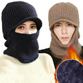 Thicker Double Layer Fabric Winter Hats for Men Knitting Wool Beanie Woman Casual Hat Men's Beanies Plus Velvet Bone Mask Caps