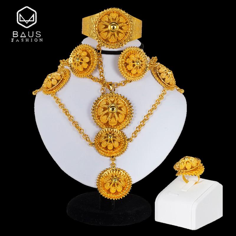BAUS indian jewelry Gold color big Necklace earring Bracelet rings headwear Ethiopian Nigerian wedding african beads jewelry set
