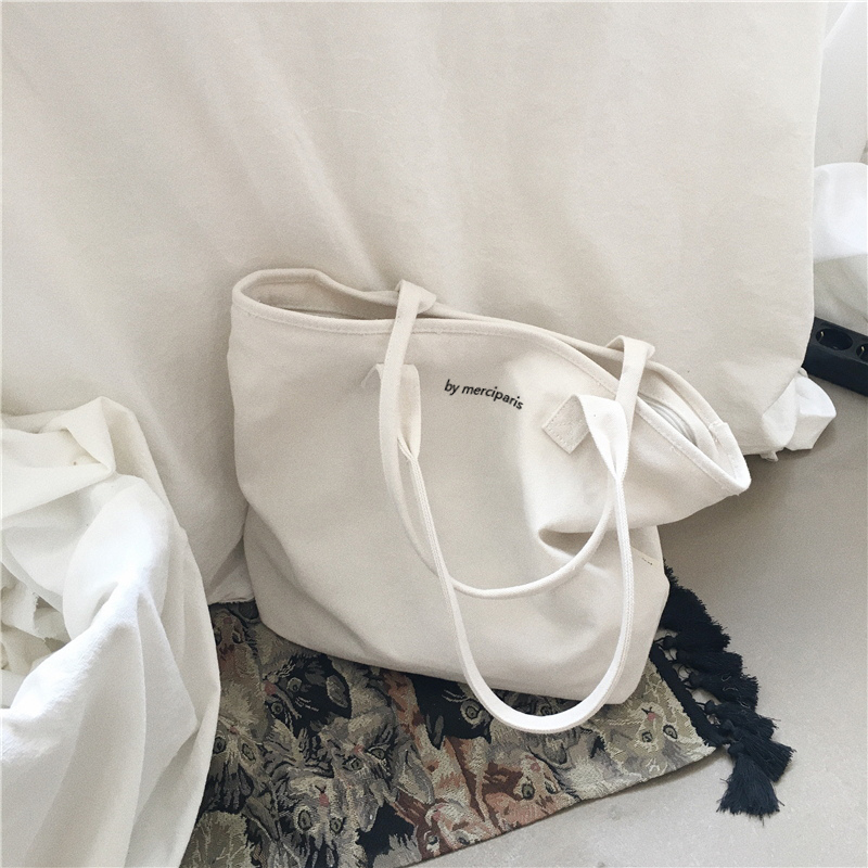 High Quality Korean Shopping Shoulder Bags Women Female Canvas Handbags Large Capacity Beach Bag White Ladies Tote Bags hs rhyme canvas woman stripe bags ladies bags korean color shoulder diagonal color canvas bag in three chains