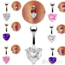 Krásný piercing do pupíku s kamínkem ve tvaru srdce