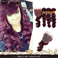 Burgundy Loose Wave Brazilian Virgin Hair Loose Curly Virgin Hair Cheap Wavy Human Hair 99j Deep Red Wave 3 Bundles With Closure