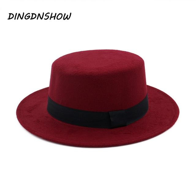 DINGDNSHOW  moda Sombrero Fedora Sombrero de lana Hombre 2018 invierno  fieltro sombreros mujeres Gorra 1ada662cefe