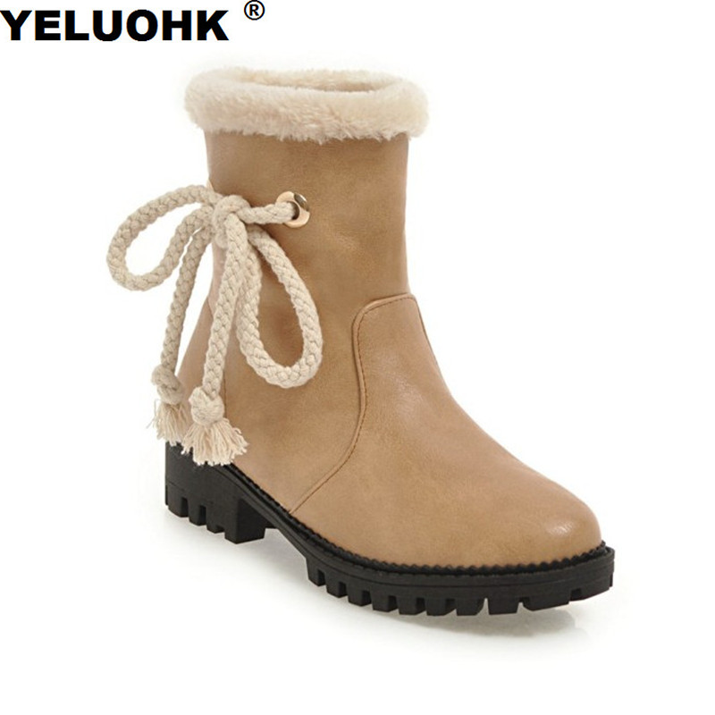 Large Size Female Winter Boots Low Heel Ankle Boots For Women Plush Warm Waterproof Snow Boots Ladies Shoes цена и фото
