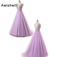Real Photo Cap Sleeve V Neck Floor Length Appliques Beaded Tulle Lavender Color Long Prom Dresses