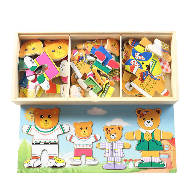 Baby Wooden Puzzle Set Educational Toys Bear Changing Clothes Puzzles Dressing Jigsaw Game For Kids Children's Wooden Toys