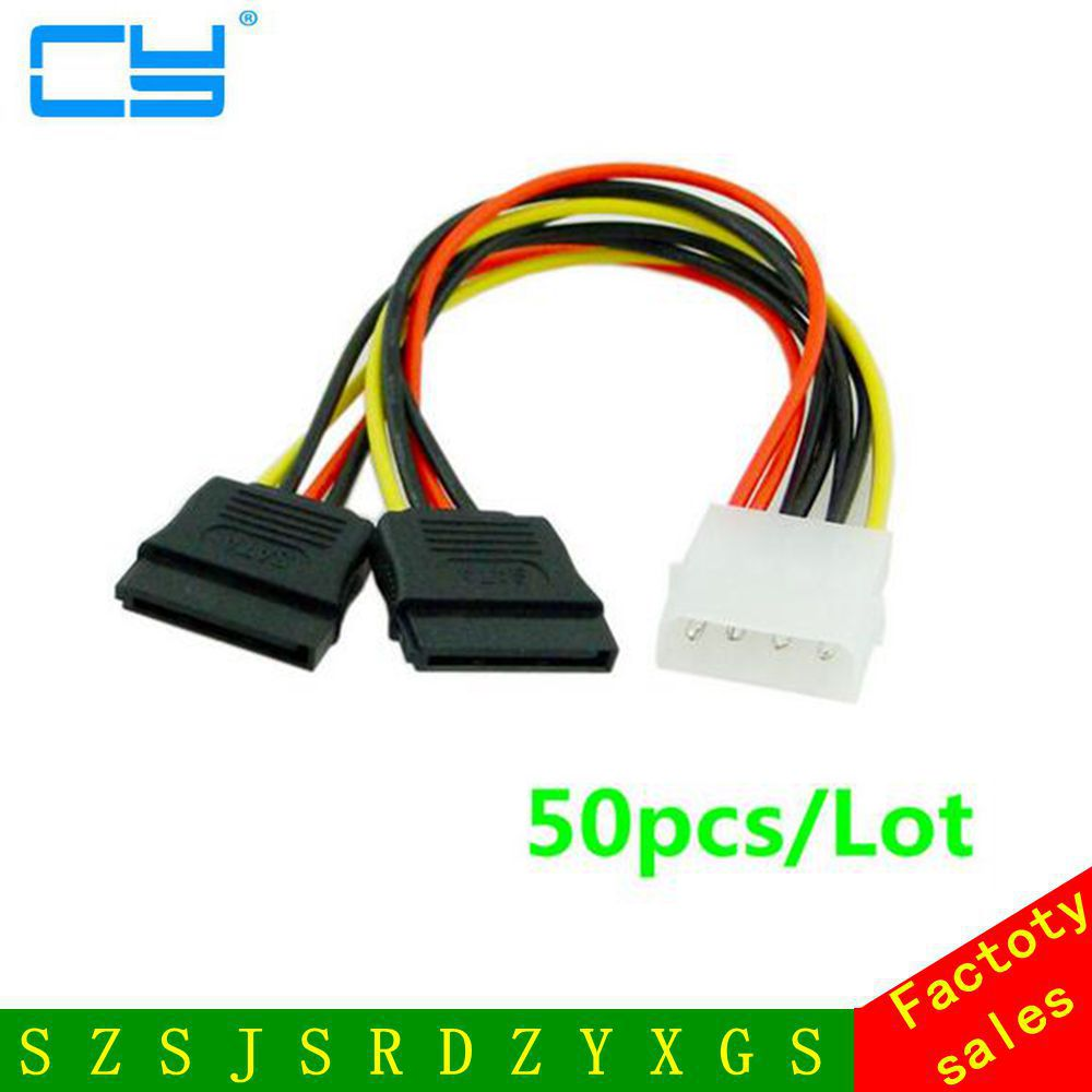 50pcs/Lot IDE to Sata Power Cable IDE to 2x Serial ATA SATA HDD Power Adapter 4pin IDE To 15pin SATA HDD Power Cable