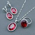 Casamento Red Criado Rubi Branco Topaz Prata Esterlina 925 Conjuntos de Jóias Para As Mulheres Brincos/Pingente/Colar/Anéis Caixa livre