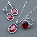 Wedding Red Created Ruby White Topaz 925 Sterling Silver Jewelry Sets For Women Earrings/Pendant/Necklace/Rings Free Box