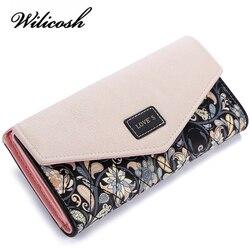Wilicosh moda impressão feminina carteiras de couro feminina bolsa alta qualidade carteira feminina embreagem grande capacidade wbs125