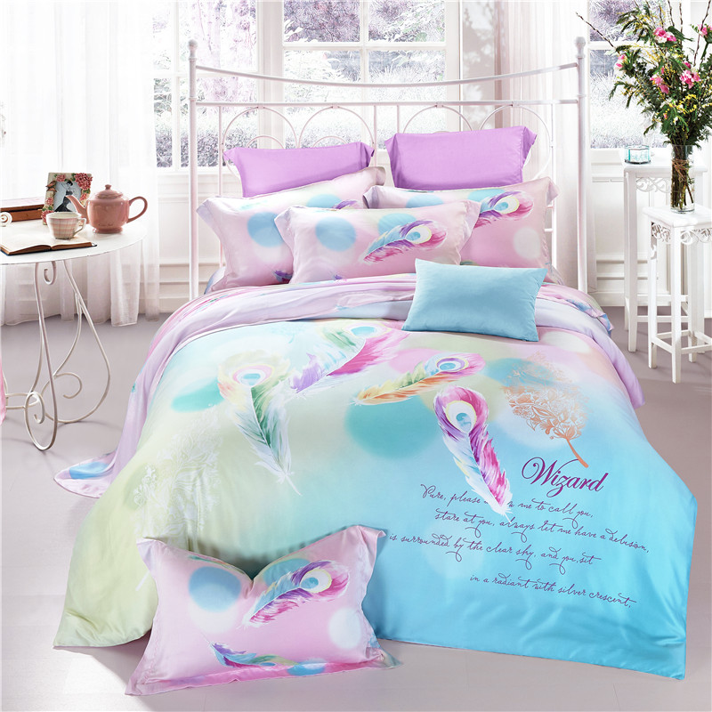 Feathers Flowers Queen King Tencel Silk 4pcs Bedding Set