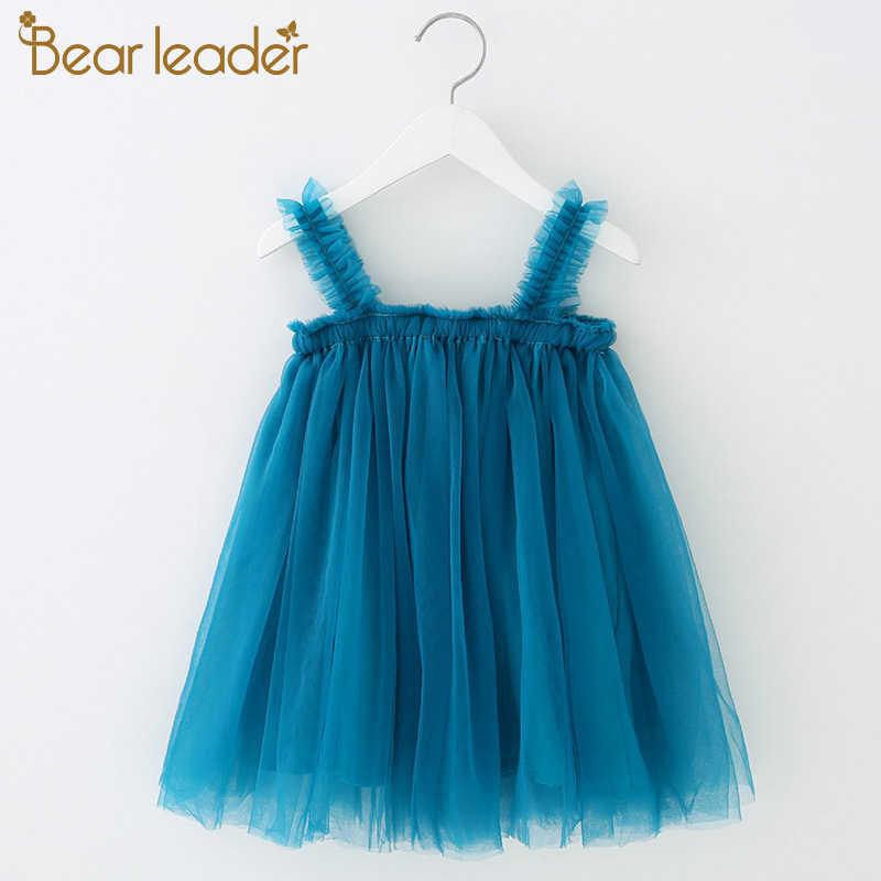 דוב מנהיג בנות שמלת 2019 קיץ רשת קלע בנות מוצק בגדי נסיכת שמלת פעוט טוטו שמלות תינוקת שמלה