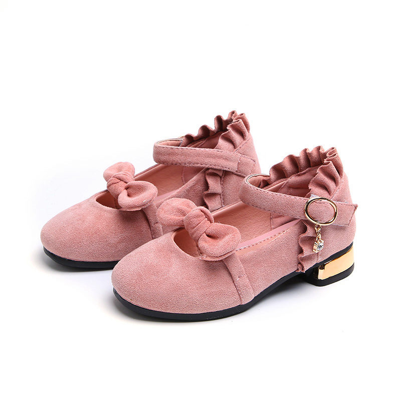 Princess Flowers Spring Autumn Girls Shoes Size 26 36 Children Party Dress  Shoes Girls Princess Bowknot Suede Leather Flat Shoes-in Leather Shoes from  ... 17c7237c4f6a