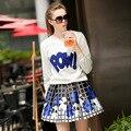 Европа осень 2016 новая мода повседневная письма вышитые свитер + юбка в конце двух частей устанавливает женщины оптовая