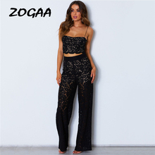 купить ZOGAA Women's Two Piece Set Casual Lace Hollow Out Strapless Crop Top Long Wide Leg Pants Sexy Party Club Women 2 Piece Set по цене 1389.25 рублей