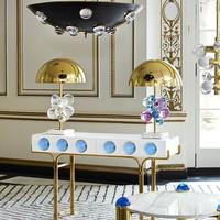 Modern American Color Transparent Crystal Ball Bedroom Table Lamp Style House Art Kids Room Hardware Marble desk lamp LU725226