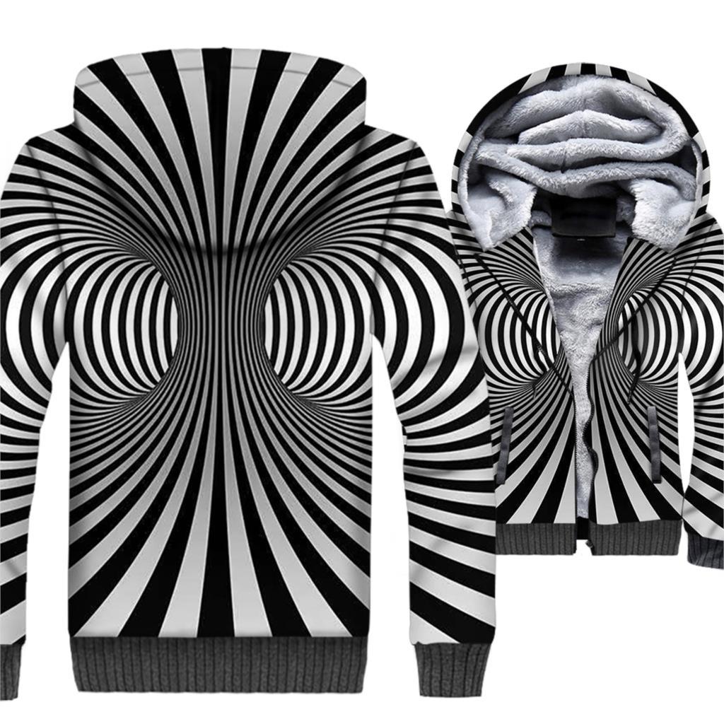 Marque vêtements 2018 hiver épais Hoodies Hip Hop 3D Sweatshirts Harajuku Unsiex noir blanc Vortex veste Streetwear Zipper Coat - 4