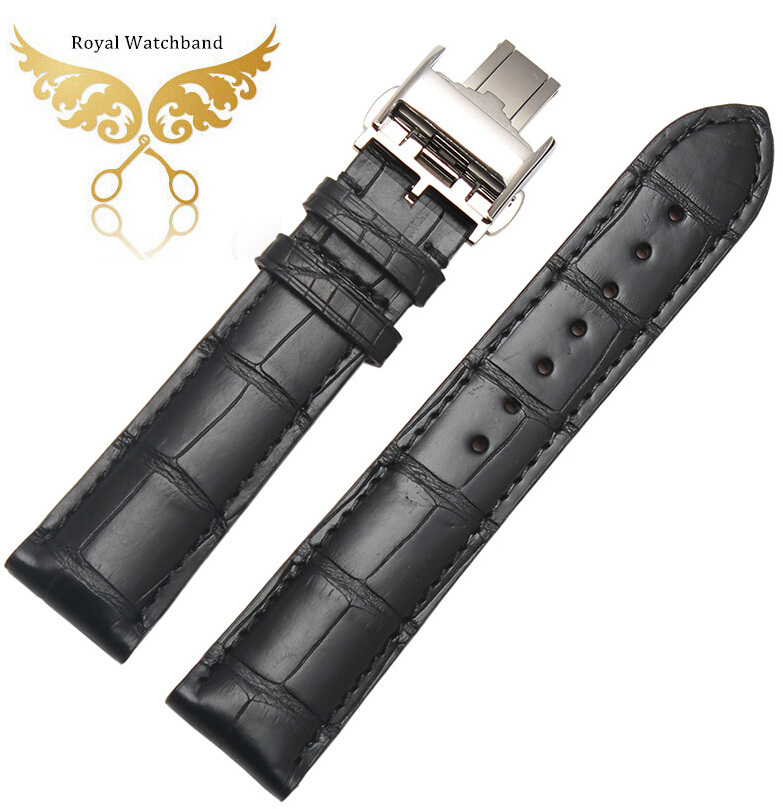 18mm 19mm 20mm 21mm 22mm Black Genuine Alligator Leather Watch Strap Band Butterfly Deployment Buckle