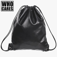 2016 Fashion New Leather Backpack Drawstring Bag ZohraTravel Bag Black PU Backpack Women Party School Bags