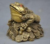 Crafts statue China Folk Frog Toad Ingot Lucky Auspicious Bronze Statue halloween