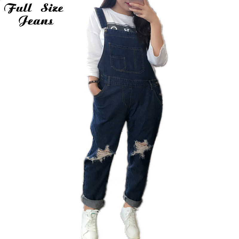 2017 Autumn Korean Star Damage Loose Romper Jeans For Teenagers Stars Holes Jeans Boyfriend Jeans High Street Rock Pants 4XL 5XL