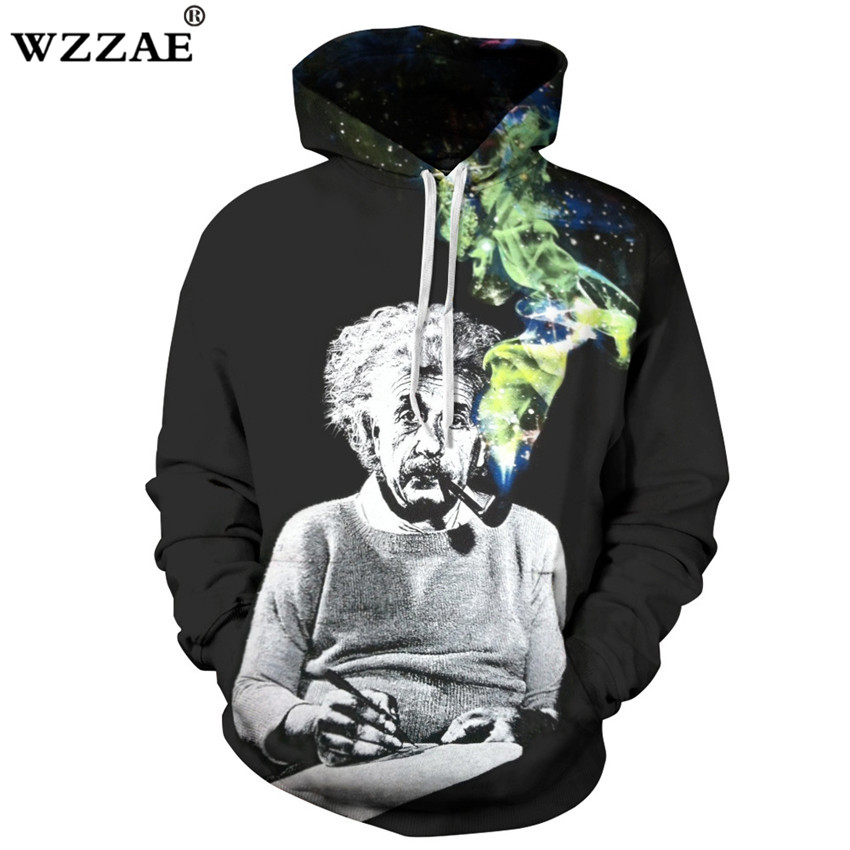 2018 New Einstein Hoodies Men/Women Sweatshirts 3d Print Einstein Smoking Thin Unisex Hooded Tracksuits Tops Pullovers Dropship