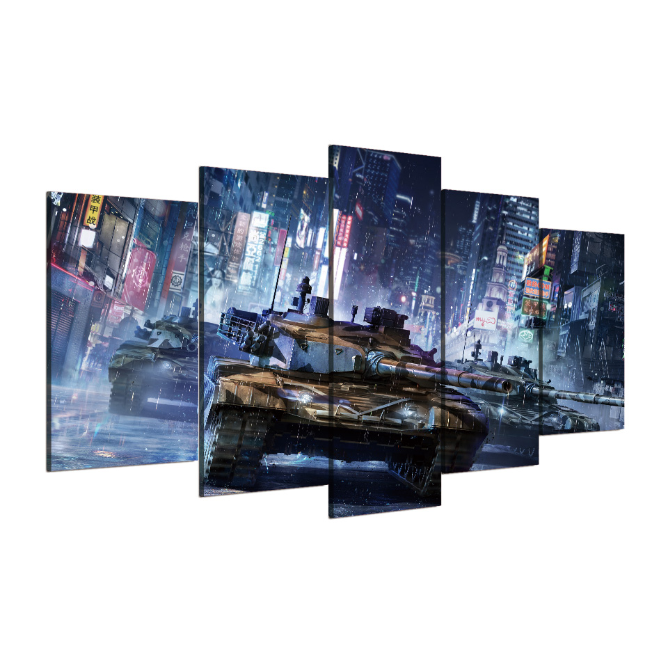 5 Pcs/Set Framed HD Printed Tanks Warfare Games Poster Pictures Room  Decoration Canvas Wall Art Modern Movie Oil Painting In Painting U0026  Calligraphy From ...